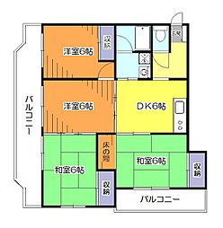 東京都小平市学園西町1丁目の賃貸マンションの間取り