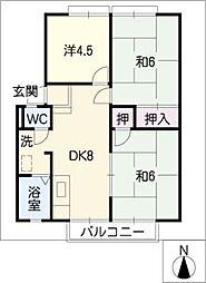 パナハイツウメダ B棟[2階]の間取り