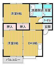 静岡県浜松市東区中野町の賃貸アパートの間取り