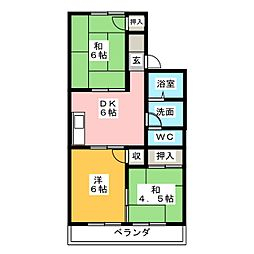エクセルカトウB棟[1階]の間取り