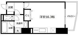 エトワール北新地 12階ワンルームの間取り