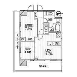 M白金台 7階2LDKの間取り