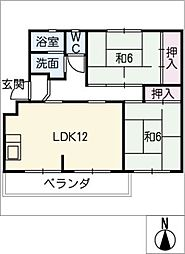東丘住宅G棟 304号室[3階]の間取り