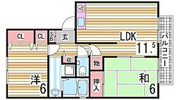 アベニール22 2階2LDKの間取り