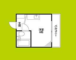 野江II番館 5階ワンルームの間取り