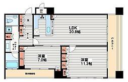 リーガルタワー大阪[17階]の間取り