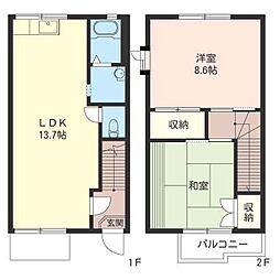 [テラスハウス] 神奈川県秦野市西大竹 の賃貸【/】の間取り