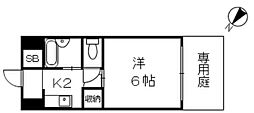 JR山陽本線 広島駅 徒歩29分の賃貸マンション 1階1Kの間取り