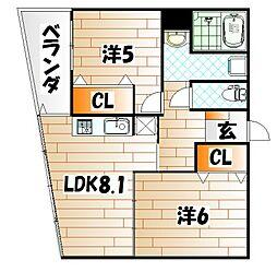 アルシオン中央[3階]の間取り