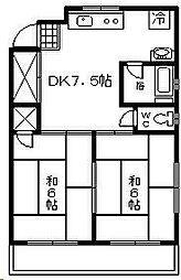 椎の木ハイツ[2階]の間取り