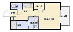 大阪府八尾市南本町5丁目の賃貸アパートの間取り