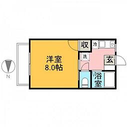広島高速交通アストラムライン 大塚駅 徒歩18分の賃貸マンション 1階1Kの間取り