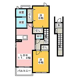 愛知県名古屋市中川区吉津2の賃貸アパートの間取り