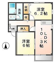 愛知県あま市甚目寺郷前の賃貸アパートの間取り