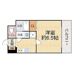 ララプレイス ザ・京橋ステラ 3階1Kの間取り