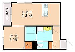 西鉄天神大牟田線 高宮駅 徒歩13分の賃貸マンション 4階1LDKの間取り
