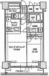 ブリリアイスト東雲キャナルコート(アパートメンツ東雲キャナル 8階1LDKの間取り