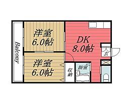千葉県東金市東金の賃貸マンションの間取り
