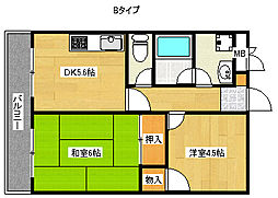 平田マンション[4階]の間取り