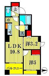 都営浅草線 本所吾妻橋駅 徒歩3分の賃貸マンション 7階2LDKの間取り