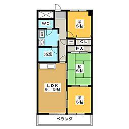 岐阜県各務原市那加新加納町の賃貸マンションの間取り