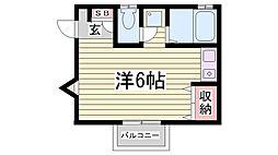 兵庫県神戸市長田区平和台町1丁目の賃貸アパートの間取り