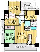 最上階、角部屋、2面バルコニーです