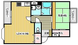 第三粉浜コーポ[2階]の間取り