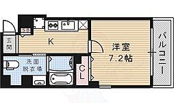 阪急今津線 宝塚南口駅 徒歩5分の賃貸マンション 6階1Kの間取り