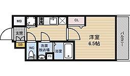 メインステージ新大阪 2階1Kの間取り