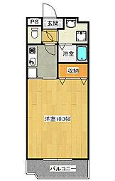 御幸町1Kマンション[3階]の間取り