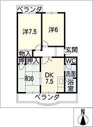 エステイタスKHー1[3階]の間取り