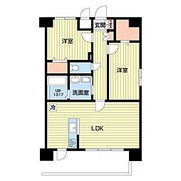 熊本電気鉄道 北熊本駅 徒歩5分の賃貸マンション 4階2LDKの間取り