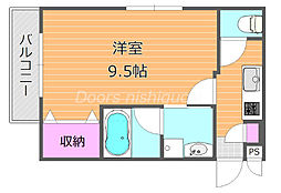 JR宇野線 大元駅 徒歩13分の賃貸マンション 2階1Kの間取り