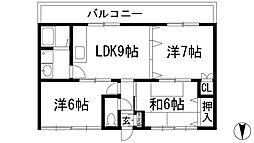 ピンリーブル1[3階]の間取り