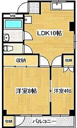 コーポ睦[2階]の間取り