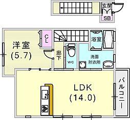 アコード岡本[1階]の間取り