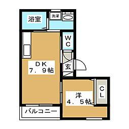 JR山手線 五反田駅 徒歩8分の賃貸マンション 3階1DKの間取り