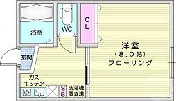 仙台市地下鉄東西線 川内駅 徒歩13分の賃貸アパート 1階1Kの間取り