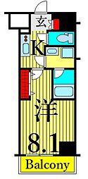 東京メトロ日比谷線 南千住駅 徒歩9分の賃貸マンション 10階1Kの間取り