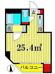 都営大江戸線 両国駅 徒歩3分の賃貸マンション 3階ワンルームの間取り