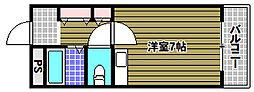 山本レンターマンション 4階ワンルームの間取り