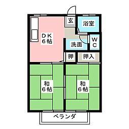 山弘ハイツA[2階]の間取り