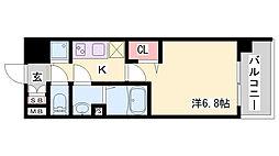 アドバンス神戸プリンスパーク 4階1Kの間取り