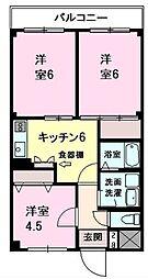 千葉県松戸市六高台9丁目の賃貸マンションの間取り