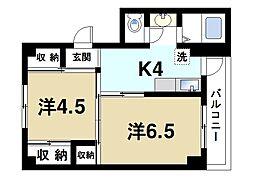 JR桜井線 巻向駅 徒歩8分の賃貸マンション 3階2Kの間取り