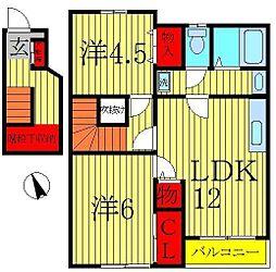 千葉県柏市酒井根7の賃貸アパートの間取り