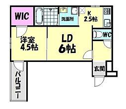 南海線 北助松駅 徒歩9分の賃貸アパート 3階1LDKの間取り