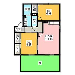 グリーンコート21 B[1階]の間取り