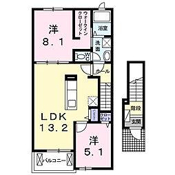 静岡県浜松市中区高丘北1丁目の賃貸アパートの間取り